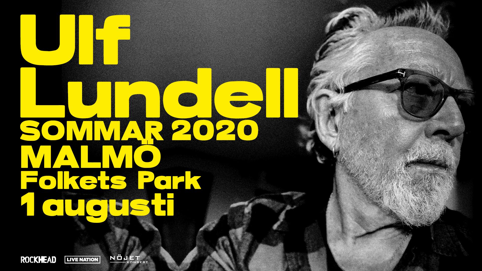 Bild på Ulf Lundell i svartvitt, text med namn och datum för konsert i Malmö i gult.