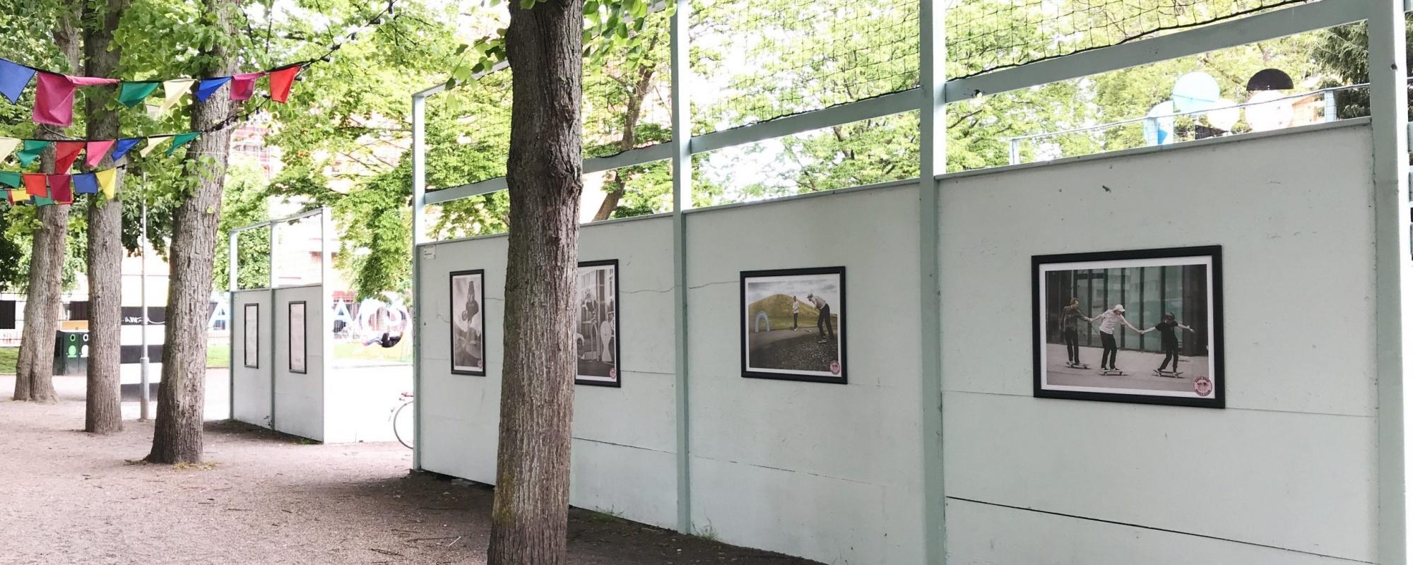 Affischer av skejtare hänger på baksidan av skejtramperna på Vänskapstorget. På bilden syns även flaggor i flera olika färger upphängda i träden.