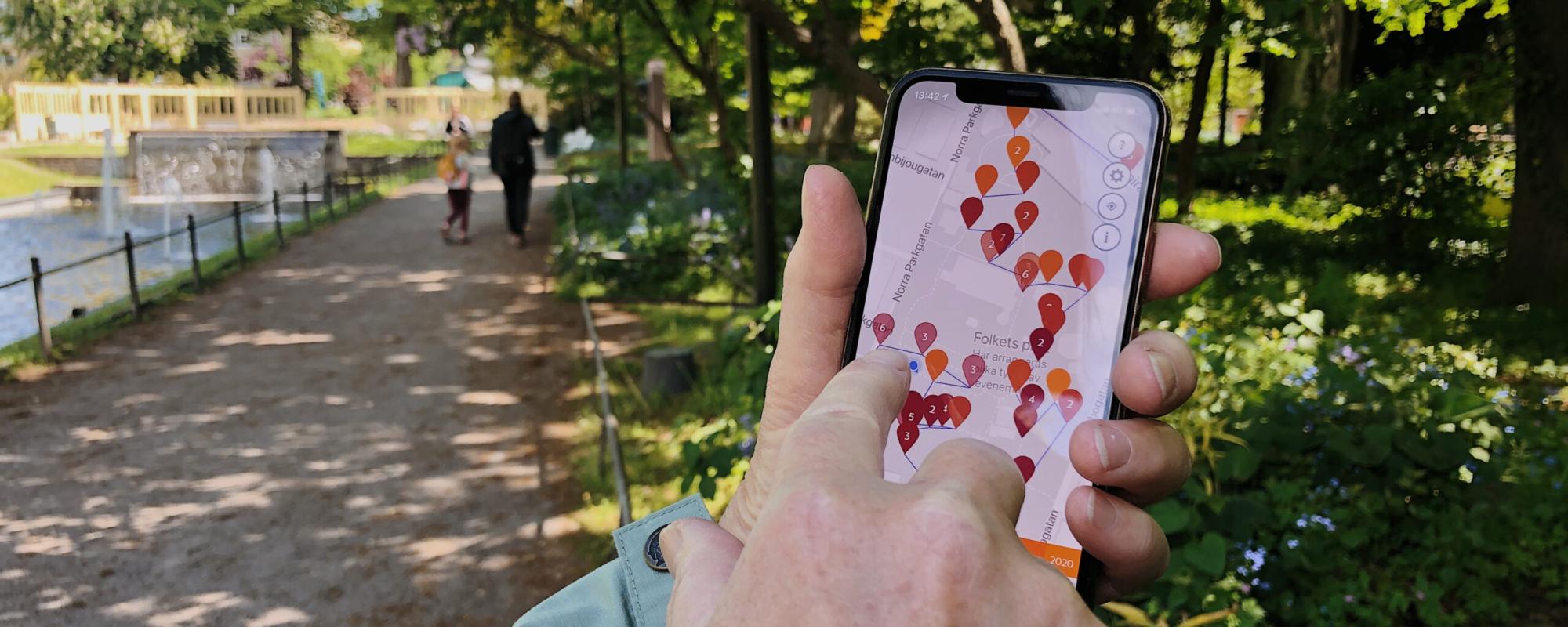 Besökare upptäcker parkens historia genom Be Here Then-appen